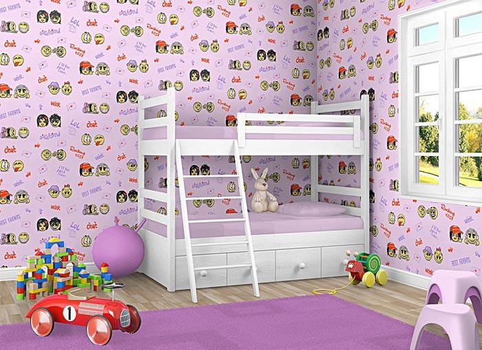 Kinderkamer behang baby behang EDEM 037-24 smiley roze geel paars ...