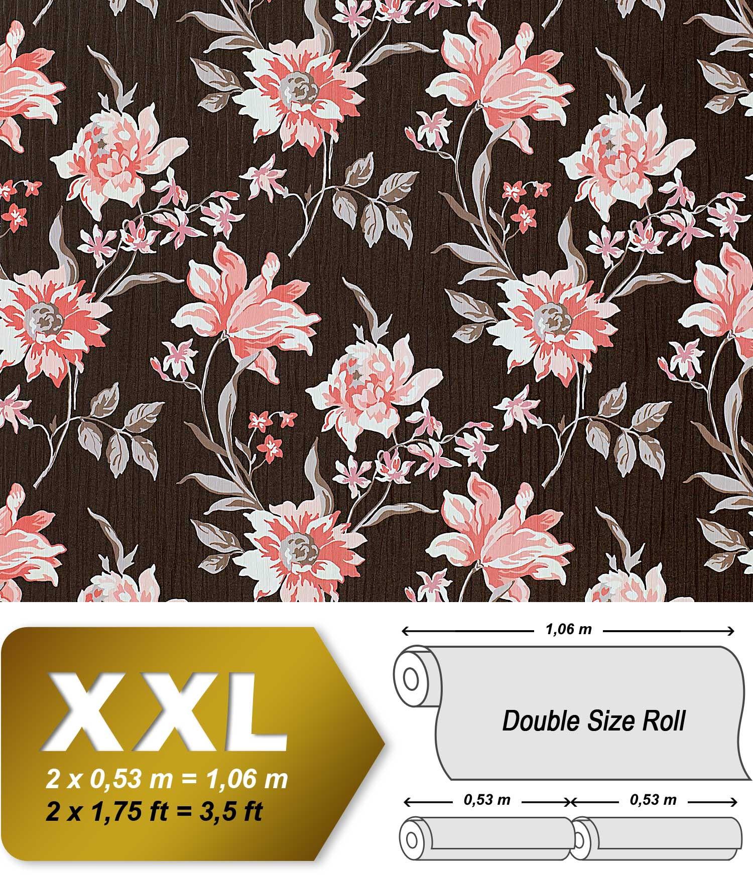 Bloemen Behang Edem   Roze Met Textiel Structuur Bruin Oud Roze Wit Grijs L  M