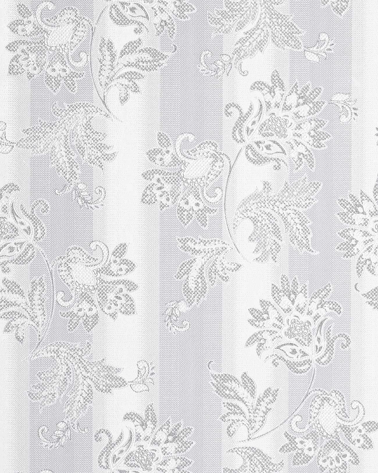 Papier peint en vinyle design motif floral edem 084 20 fleurs baroque gris cl - Papier peint gris baroque ...