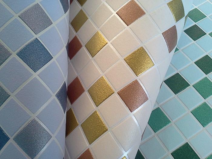 20170316&163047_Mozaiek Bloemen Badkamer ~   vinylbehang keuken badkamer beige goudkleurig koper zilver ? Bild 4