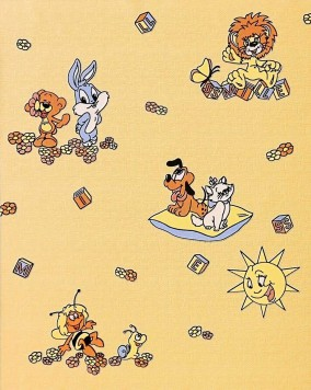 Kinderkamer behang EDEM 007-21 comic behang babybehang geel meloengeel ...