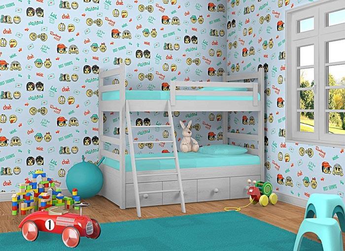 Kinderkamer behang baby behang EDEM 037-22 smiley blauw geel groen ...