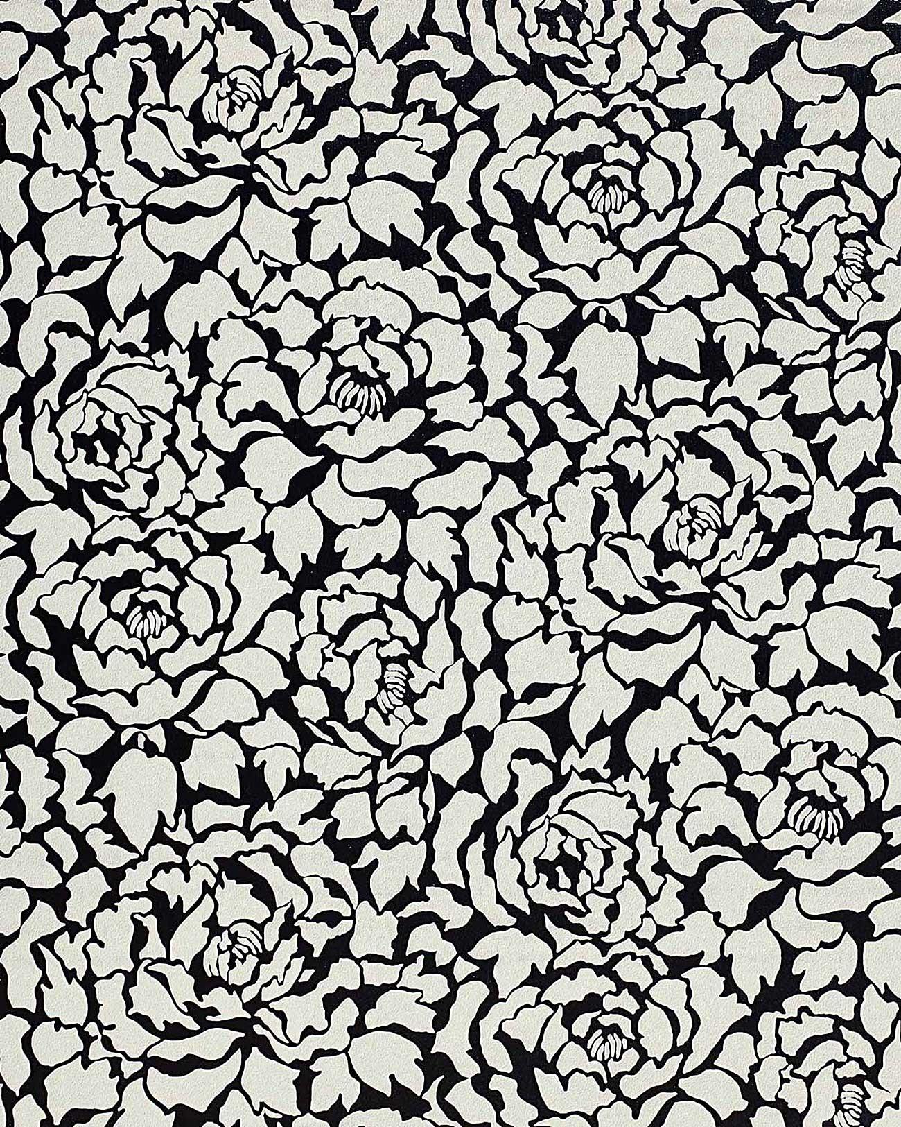 Zwart Wit Vinyl Keuken : Black and White Peony Flower