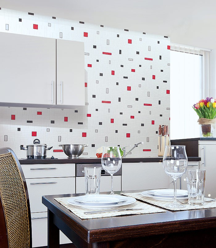 Keuken Rood Grijs : Red Black and White Vinyl Wall Tiles