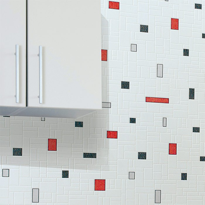 Vinyl Behang Keuken : Red Black and White Vinyl Wall Tiles
