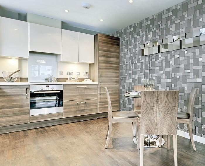 Tegel behang voor keuken en badkamer edem 585 21 structuur vinylbehang koffiebruin caramel bruin - Badkamer beige en bruin ...