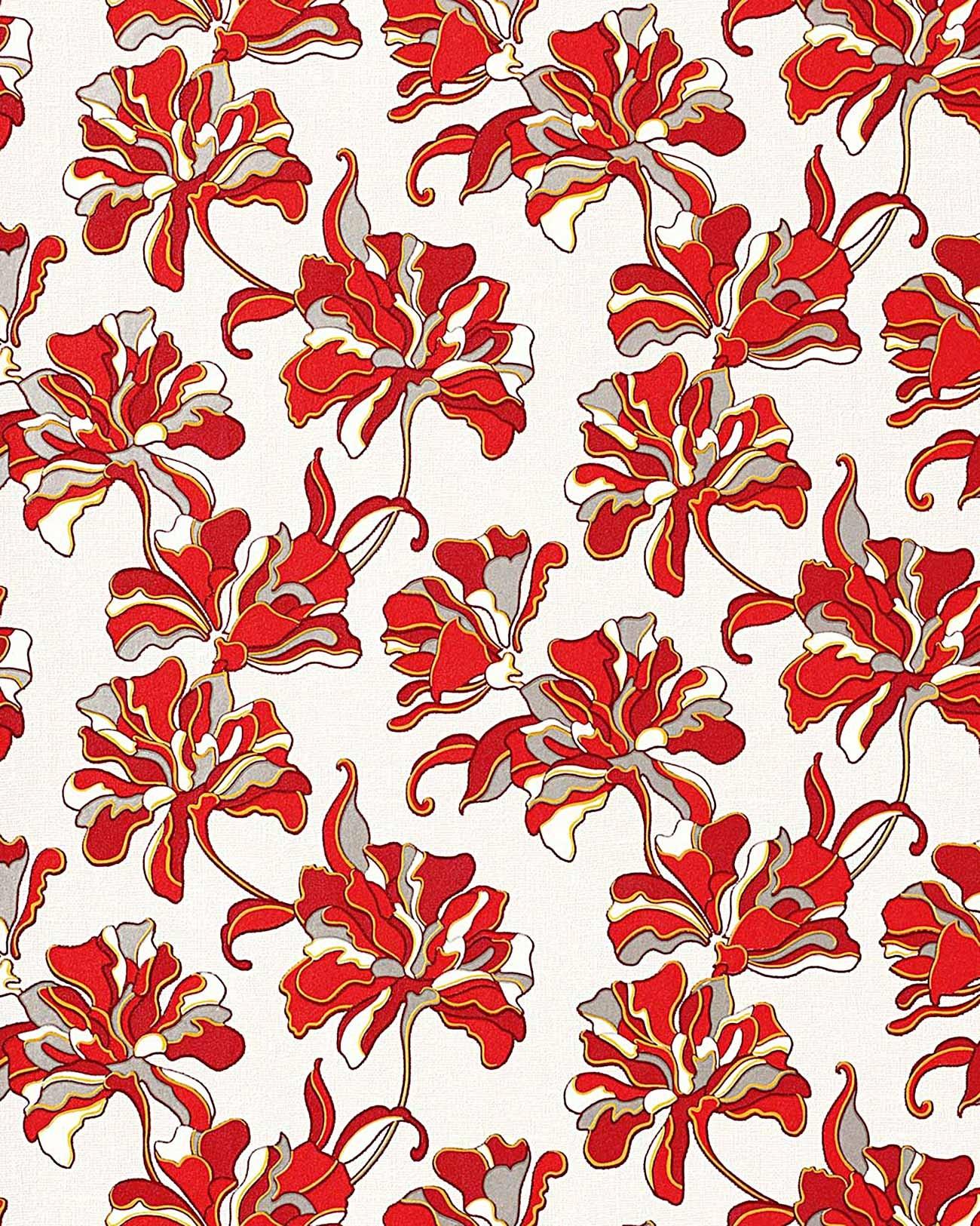 ... EDEM 072-26 design behangpapier licht grijs rood wit geel zilver