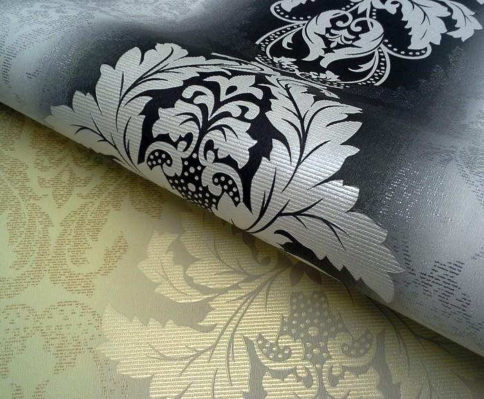 3D Damast behang EDEM 770-30 Barok behang structuur vinylbehang zwart ...