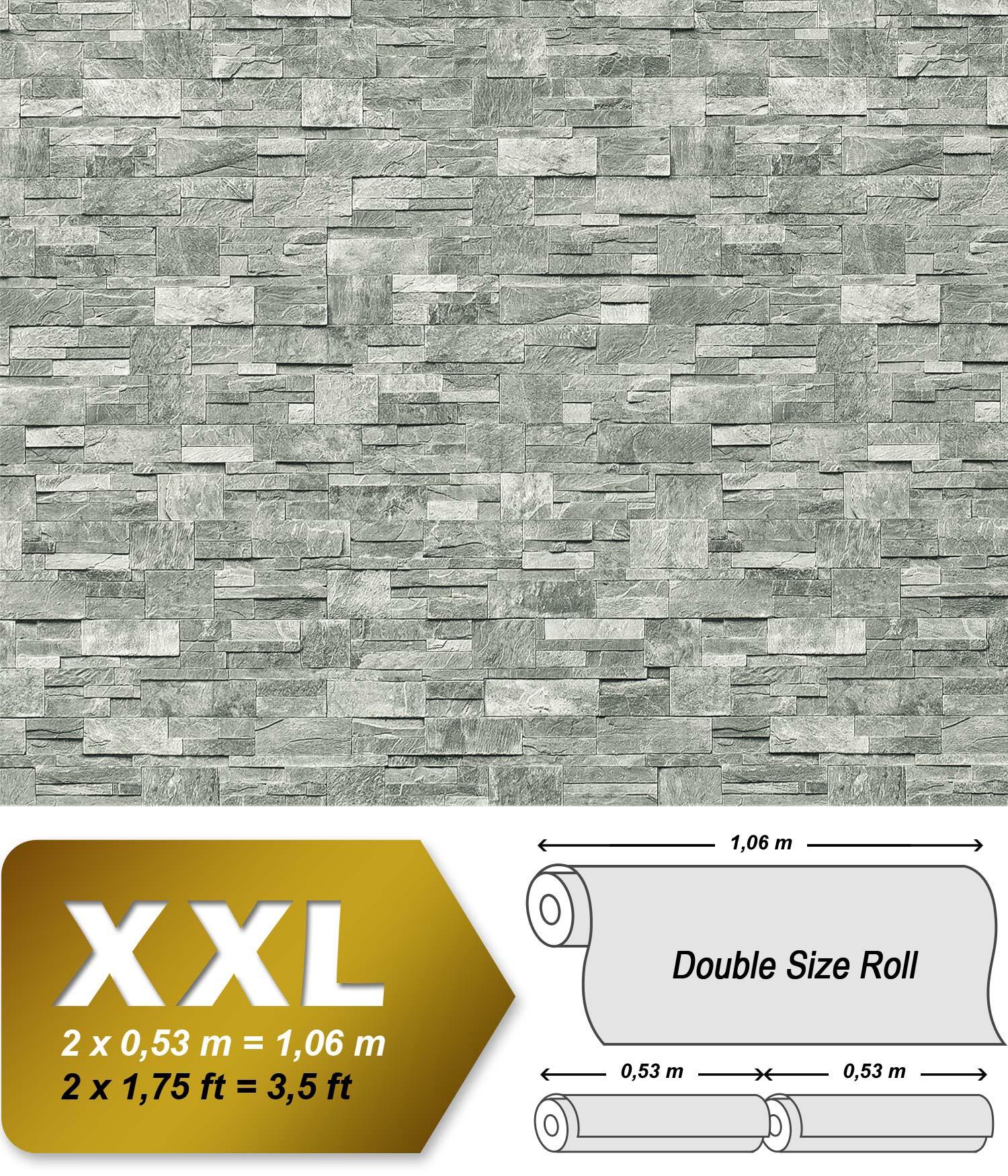 ... 918-37 Vliesbehang XXL Steen behang natuursteen muur optiek in reliëf