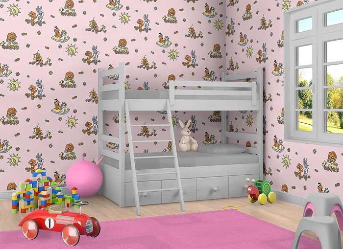 Kinderkamer behang EDEM 007-24 comic behang babybehang roze Origineel ...
